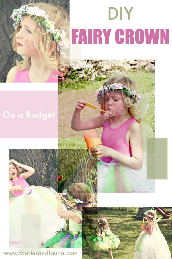 A collage of little girls playing outside in DIY fairy crowns and tutus. fairy crown DIY, DIY tiara, DIY princess crow, DIY crown, fairy crowns and tiaras, fairy wreath headpiece,fairy party, children's wedding outfit, children's party,forest fairy tutu, fairy costume, tutus for girls fairy tutu diy fairy tutu, no sew tutu, no sew fairy tutu