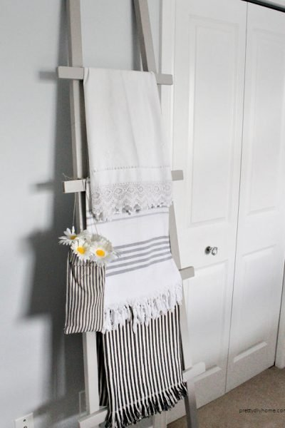 An inexpensive DIY bedroom blanket ladder, for DIY bedroom ideas on a low budget