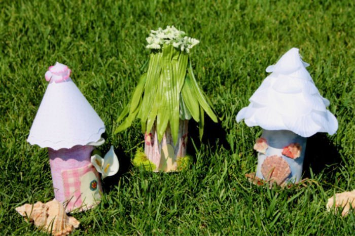 Three styles of Fairy Huts and easy family craft.
