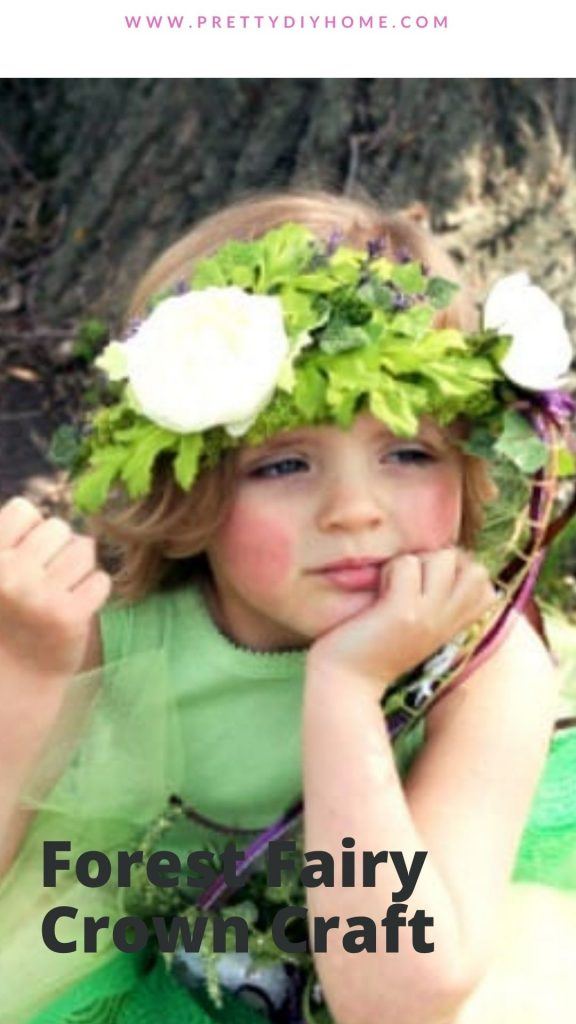 A little girl in DIY woodland fairy crown costume.