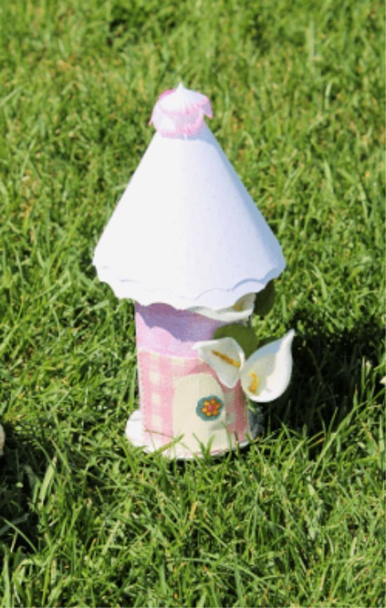 Pink and Girlish paper fairy hut craft for children.
