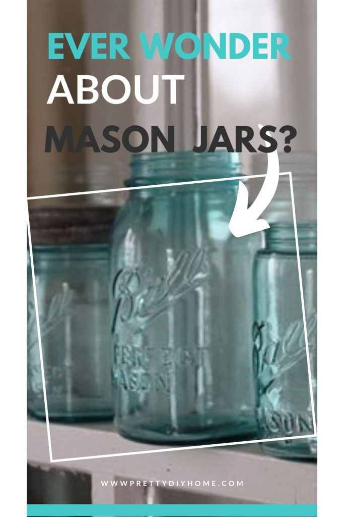 Three antique mason jars in a pretty blue aqua colour.