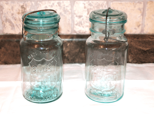 Two blue jars
