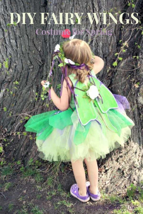 Diy fairy costume with fairy wings and fairy crown.
