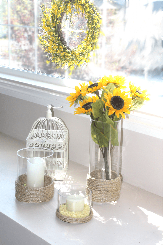 Three vase makeovers using small rope