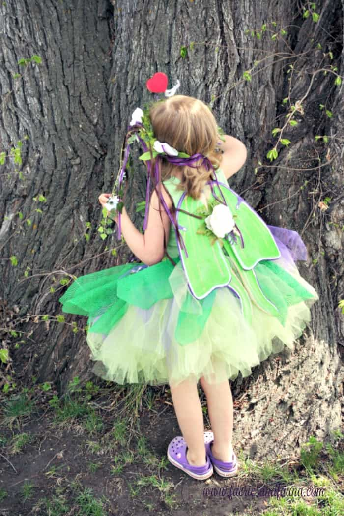 DIY fairy costume with wings. Made with a DIY floral crown and a tulle tutu