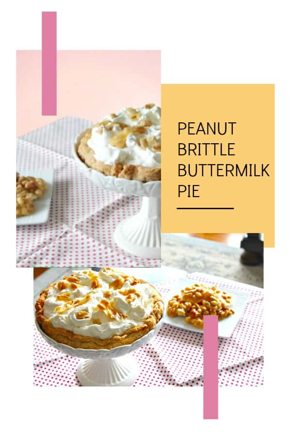 Easy buttermilk pie with peanut brittle topping.