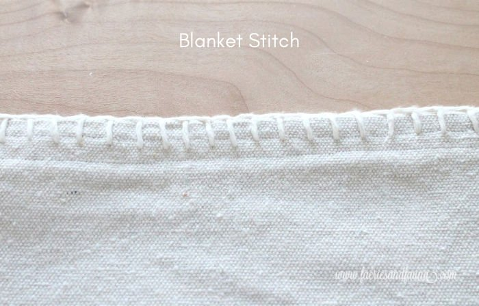 DIY Tea Towel blanket stitch