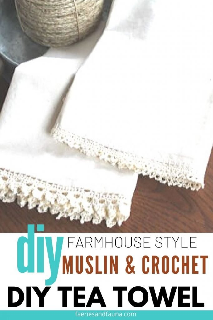 Handmade Dish towel craft, that is sewn and comes with crocheted edges.