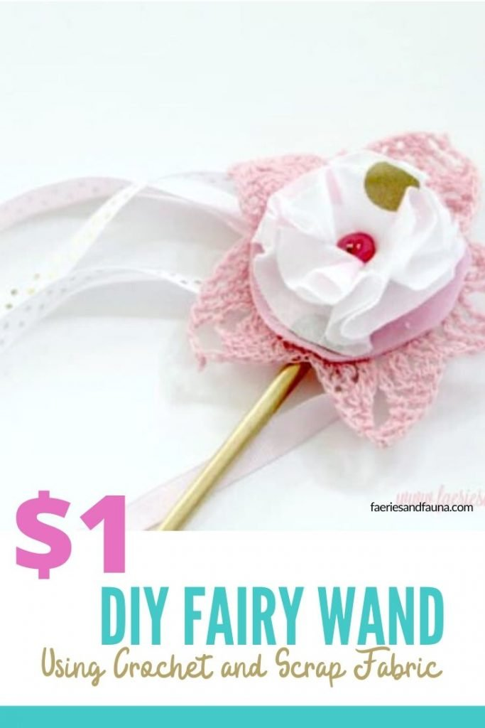 DIY fairy wand for kids made with dollar store supplies, and scraps of fabric.