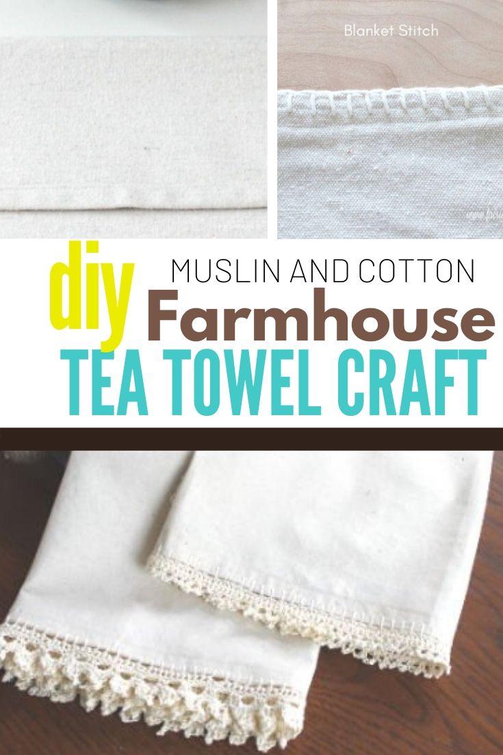 DIY Tea Towel Crochet craft with blanket stitch tutorial