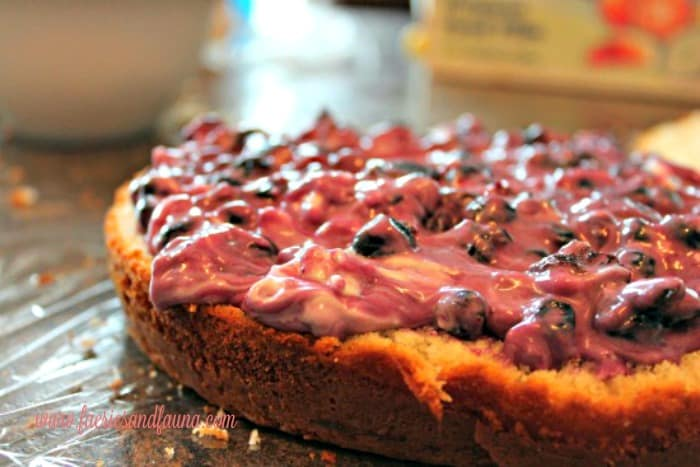 A white cake layered with a Saskatoon berry filling. Alternatively a blueberry filling.