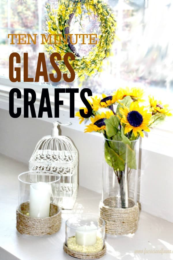 Ten minute glass crafts with three vases and rope embellishments with sunflowers.
