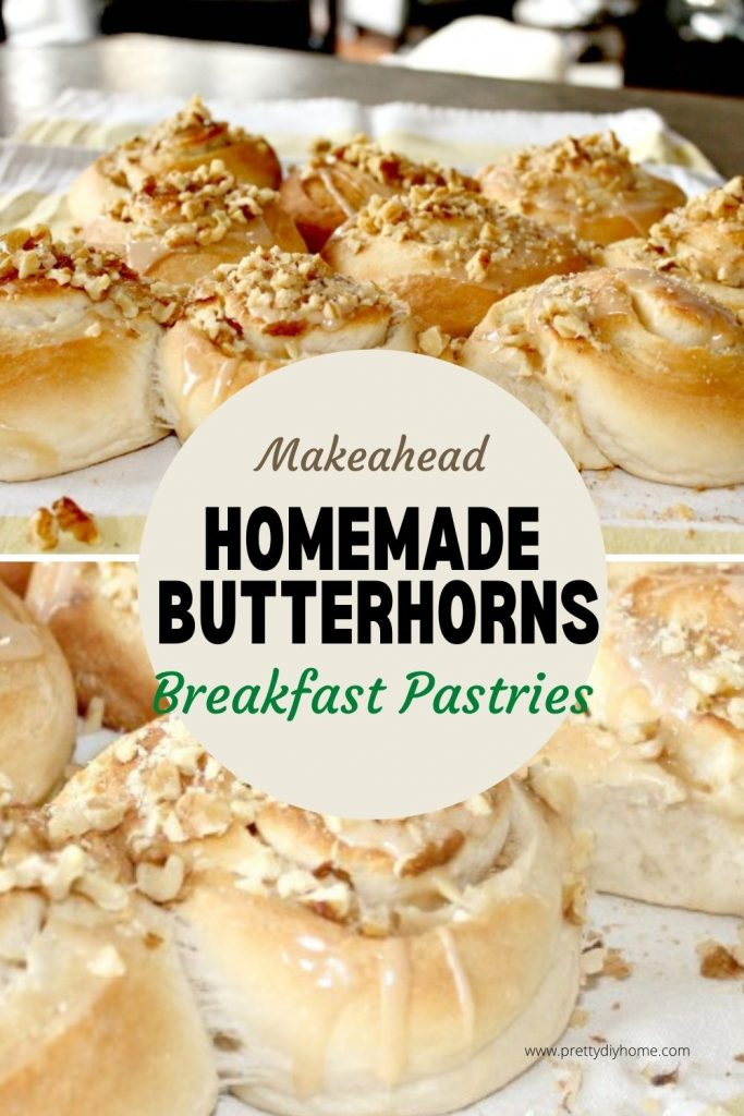 Light and fluffy yeast Butterhorns covered with vanilla glaze and walnuts.