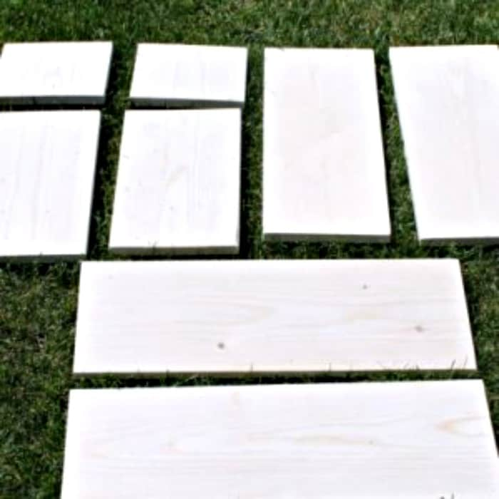 Lumber cut into construction lengths for a DIY Wooden Step Stool project.   Easy wood project, wood project, wood stool plans