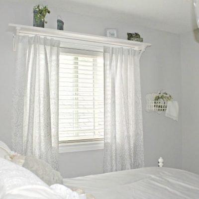 Farmhouse Shelf with Curtain Rod