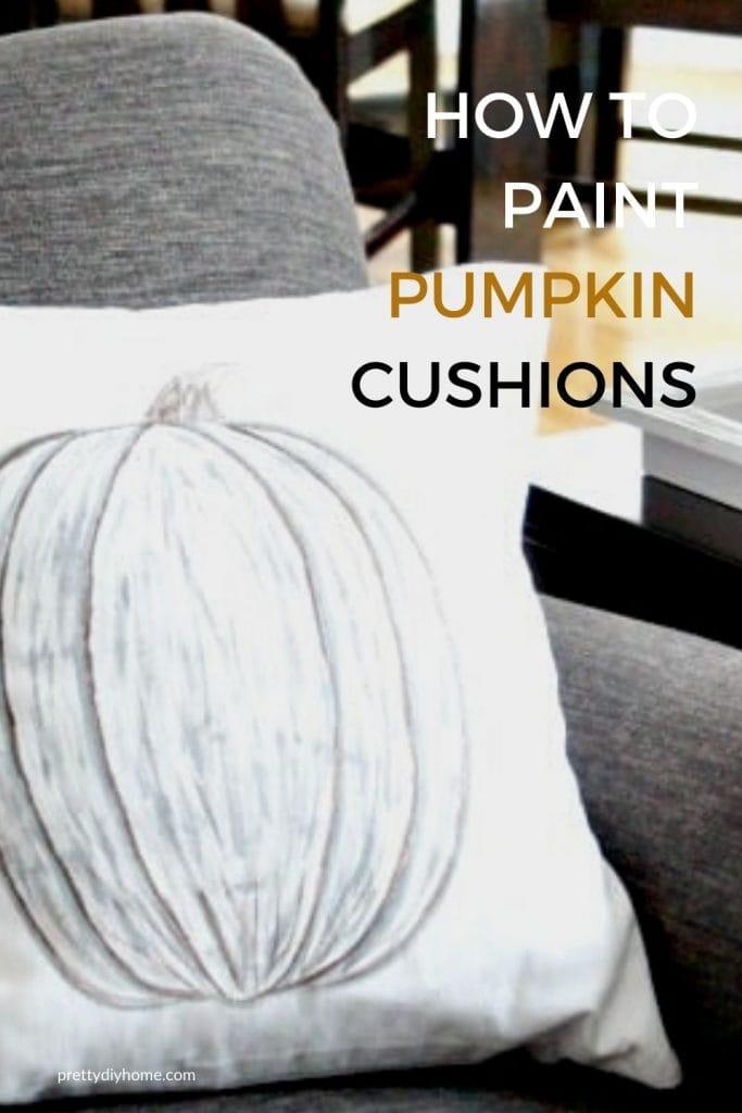 Hand painted Fall Pumpkin Cushion in neutral Fall colours.