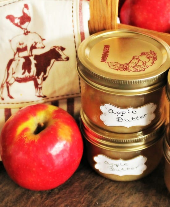 Homemade apple butter recipe in jars.