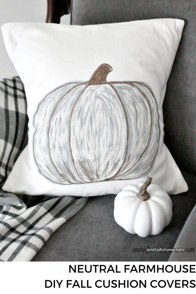 Neutral Fall DIY Pumpkin Cushion on a grey couch.