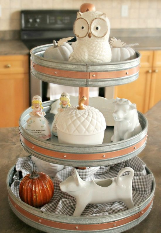 Three tier galvanized tray in a farmhouse style for simple neutral fall decor.