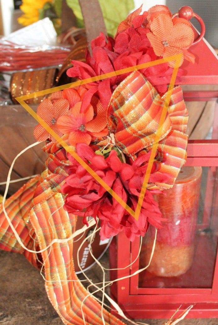 DIY lantern flower arrangement tutorial for fall lanterns.