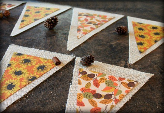 How to make a fall banner using burlap and scrapbook paper.
