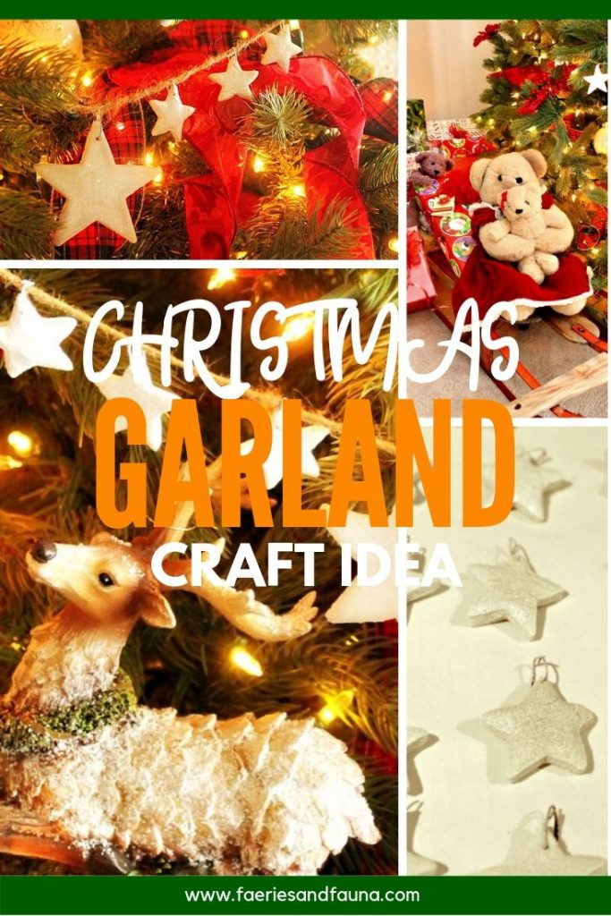 A collage of steps for making a homemade Christmas star garland Christmas tree ornament