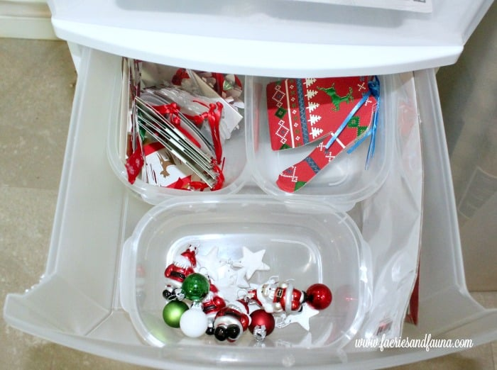 Christmas wrapping station with simple compartments for Christmas wrapping supplies.
