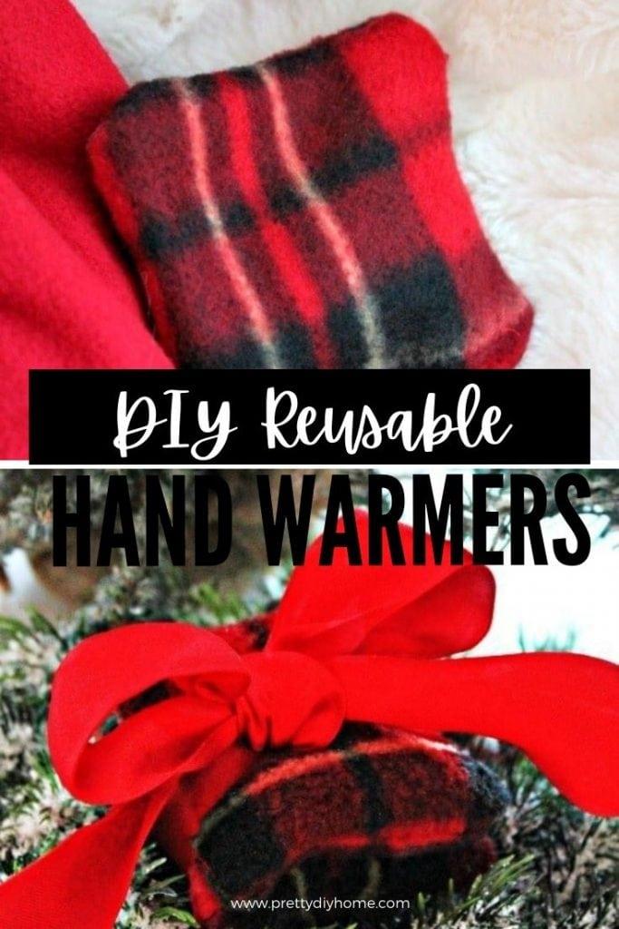 A pair of homemade red tartan hand warmers.