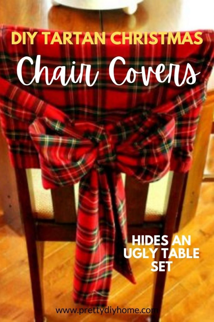 DIY Red Tartan Christmas Chair Covers with a large bow sash.