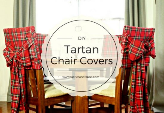 DIY chair covers for Christmas in red tartan with large bow sashes.