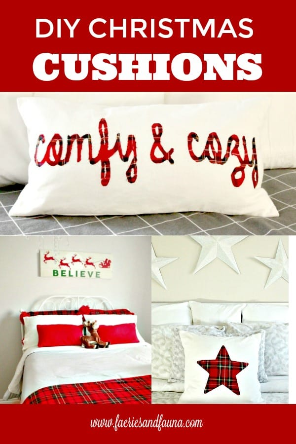 DIY Pillows for Christmas, Coordinating Christmas Cushion Covers.