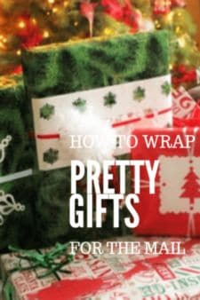 Wrapping pretty Christmas gifts for in the mail.