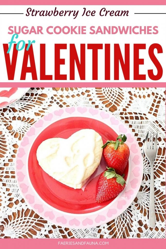 Homemade sugar cookie and strawberry ice cream sandwiches. An easy to make ahead Valentines dessert.