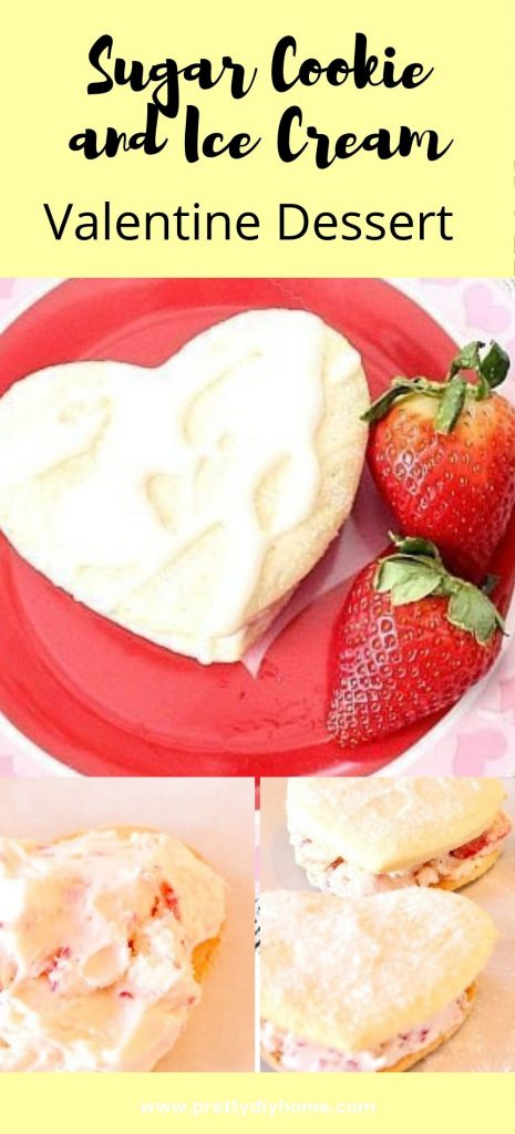 A Valentine shaped homemade ice cream sandwich with lemon sugar cookie and strawberry filling.