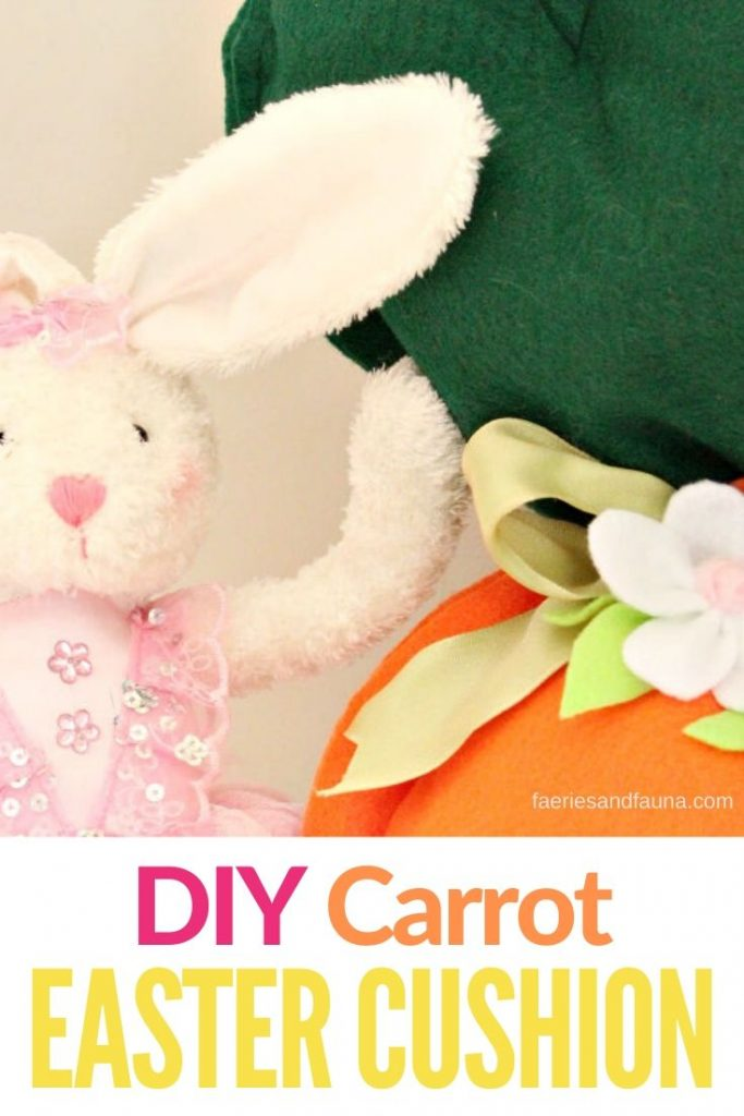 A large DIY carrot floor cushion for kids at Easter.