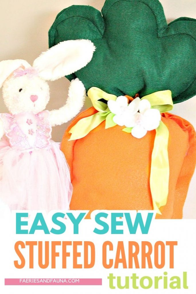 Easter Craft made with felt, a large DIY stuffed Carrot with Easter Bunny.