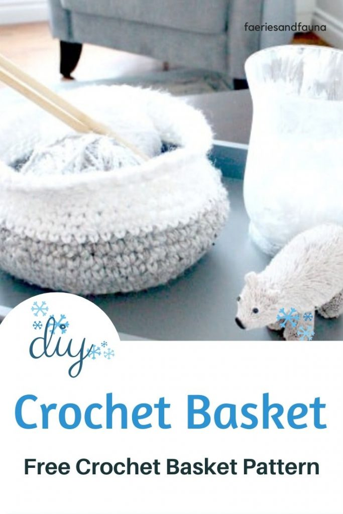 Free pattern for a Crochet basket using chunky wool.