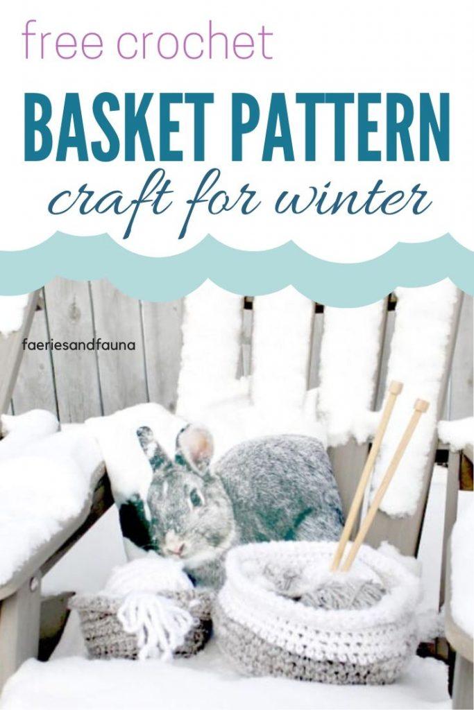 Crochet chunky wool basket using