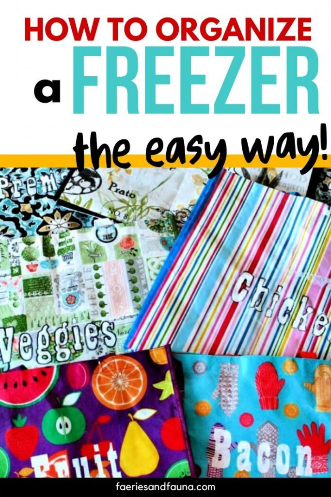 DIY Freezer organizing using large labelled cloth bags.