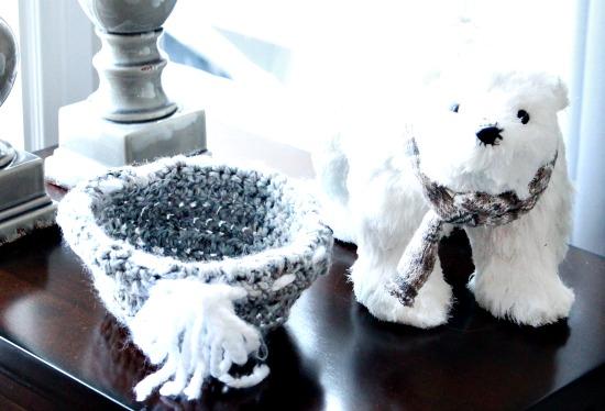 Crochet basket for DIY winter decor.