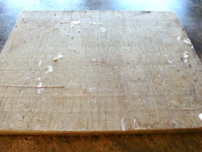 An old board for a DIY ironing board project. The board is 3/4 inch plywood.