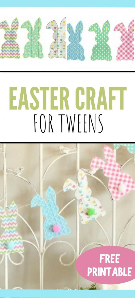 A free printable Easter bunny banner that you print and cut out. Each bunny has a different Spring pattern in pretty spring colours.