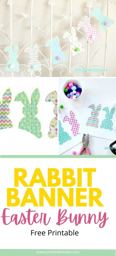 Colourful Rabbit Banner Easter Bunny printables hanging on twine for a simple Easter gunny garland.