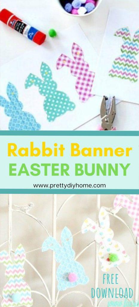 Two printable bunny templates to make a Easter bunny garland.