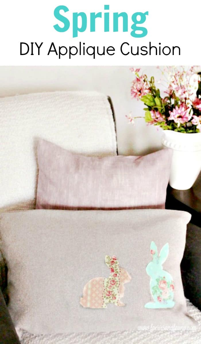 DIY Cushion Covers in pretty Spring colours. Home made throw cushions for Spring with a bunny silhouette.