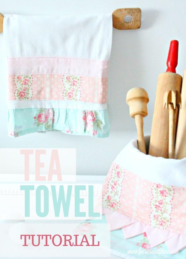 A tea towel tutorial for how to make a pretty DIY tea towel, prairie point, diy tea towel, diy kitchen towels, what is a tea towel, sew a tea towel, Spring tea towels