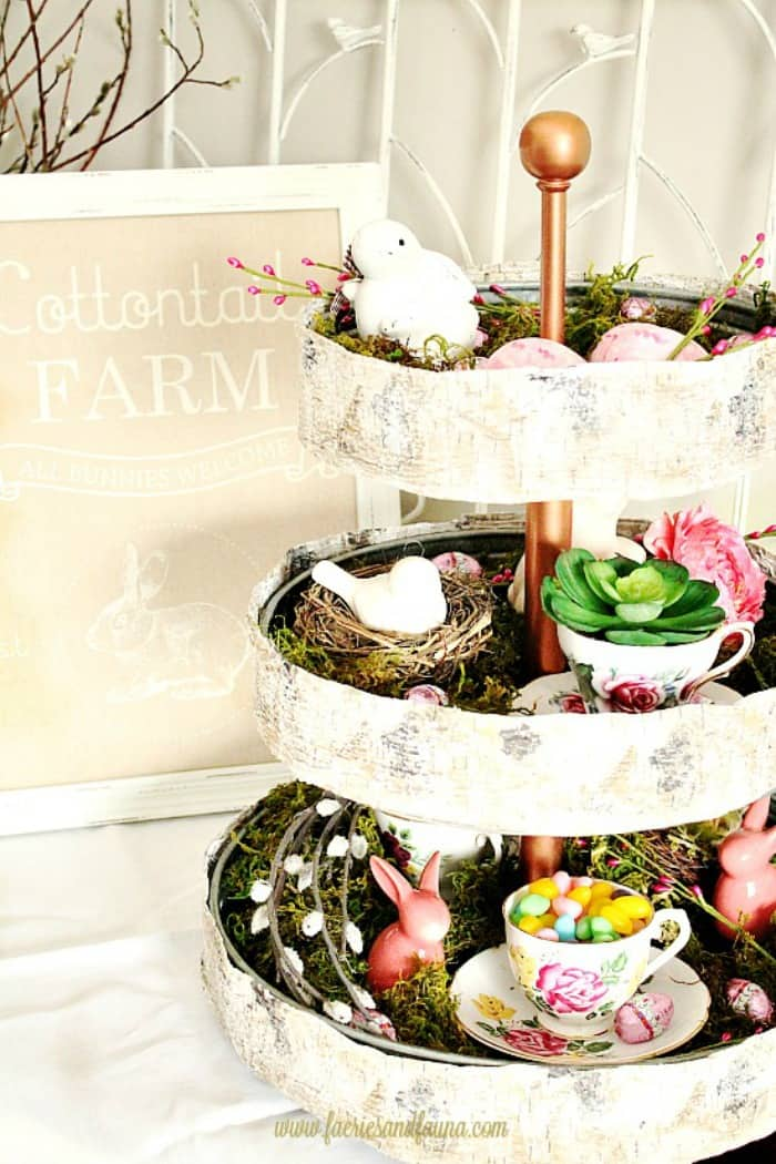 A tier tray decorated for Spring and Easter. Decorating for Spring on a budget with items you have on hand.