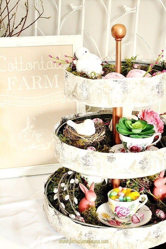 A collection of DIY tiered trays for Spring, for organizing, decor, Easter egg hunts, and centerpieces for the kitchen.