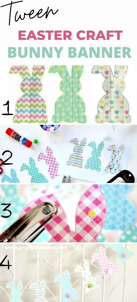 The four steps to making an easy bunny banny Easter craft for tweens. Printing the paper bunnies, hole punching, stringing and hanging